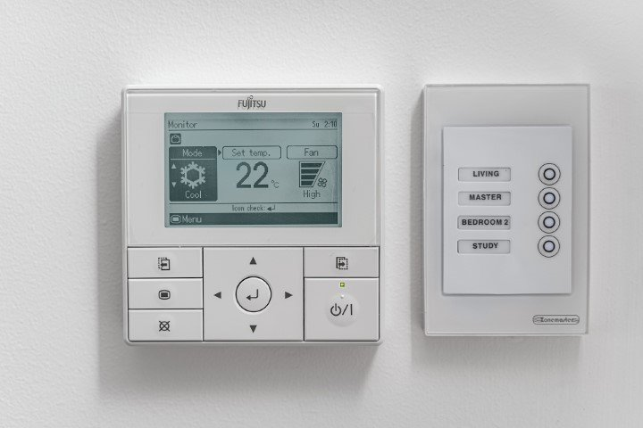 Ducted Air Conditioning Control panel on the wall
