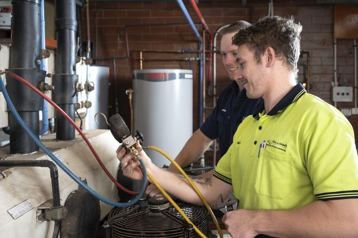 Young Air Conditioning apprentice being trained in Geraldton